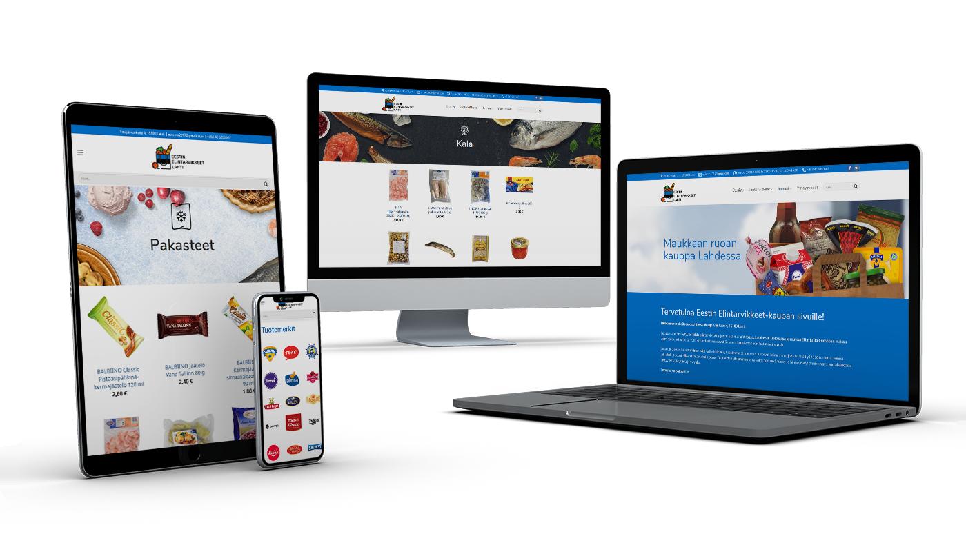 EESTIN ELINTARVIKKEET - myymälän tuotemerkin uudistaminen, verkkokaupan perustaminen, kassakonejärjestelmän ja verkkokaupan tietokannan synkronointi, markkinointi ja mainonta Facebookissa.